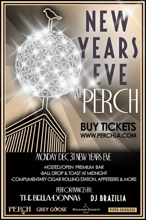 New Year's Eve at Perch Rooftop Bar in Downtown LA Speakeasy. #OpenBar #TopShelf #HorsDoueveres #ScotchTasting #CigarRolling