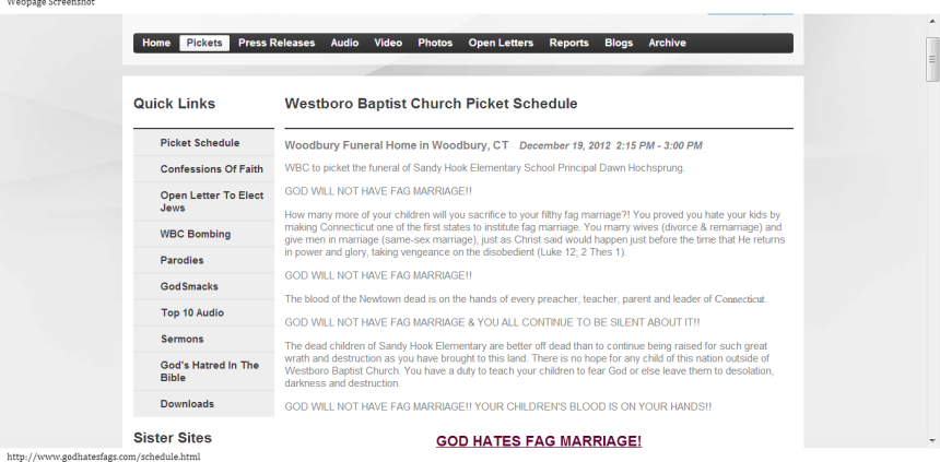 Westboro Baptist Church Picket Schedule-151858