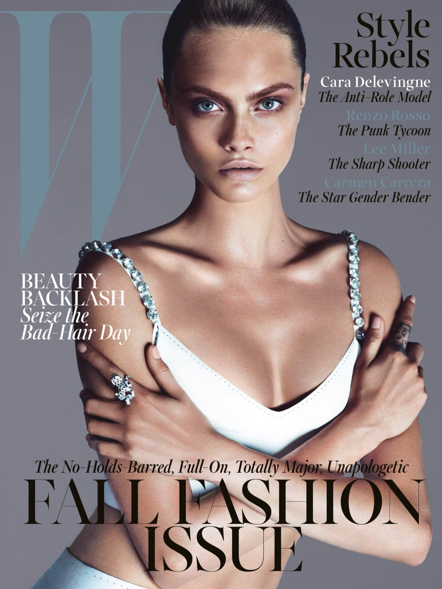 Cara Delevigne for W Magazine. Poses Topless for 'Style Rebel'. #InDepth #Realness#Nude