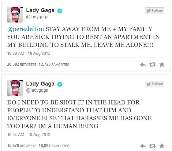 Lady Gaga Calls Out Perez Hilton On Twitter, Accuses Him Of Stalking