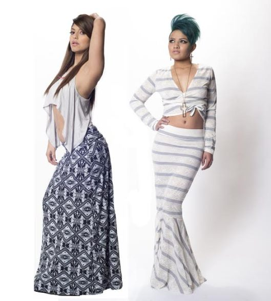 maxi dress and skirt