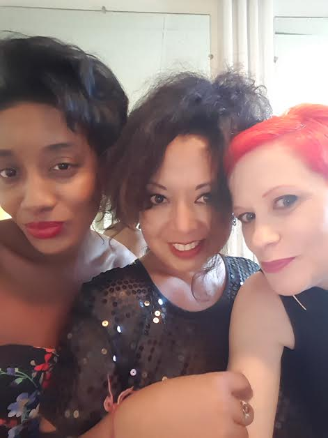 Drea, Marie and I in our dressing room.